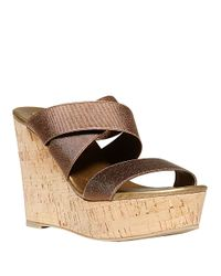 Steven by Steve Madden | Metallic Freezee Wedge Sandals | Lyst