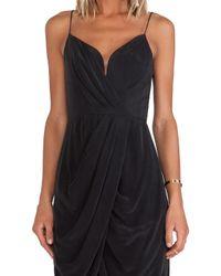 Zimmermann - Black Silk Plunge Drape Dress - Lyst