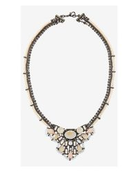 Express | Pink Mixed Stone Cluster Necklace | Lyst