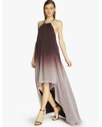Halston - Pink Asymmetric Ombré Printed Dress - Lyst