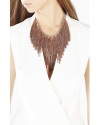 BCBGMAXAZRIA - Metallic Lattice Woven Chain Fringe Necklace - Lyst