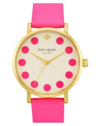 kate spade new york - Metallic 'metro' Dot Dial Leather Strap Watch - Lyst