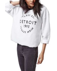 TOPSHOP | Natural 'detroit' Brushed Crewneck Sweatshirt | Lyst