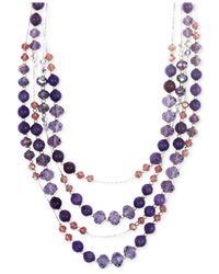 Jones New York - Silver-tone Purple Bead Multi-row Necklace - Lyst
