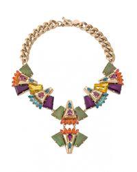 Anton Heunis | Multicolor Chain Swarovski Crystals Necklace | Lyst