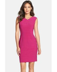 Adrianna Papell | Purple Banded Sheath | Lyst