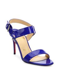 40585f65247 Lyst - Christian Louboutin Sova Patent Leather Sandals in Blue