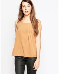 Vero Moda | Sleeveless Vest With Pleat Detail - Tobacco Brown | Lyst