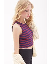 Forever 21 - Red Striped Crop Top - Lyst