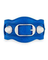 Balenciaga | Blue Giant 12 Leather Buckle Bracelet | Lyst