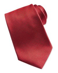 Ermenegildo Zegna | Textured Check Dot Silk Tie Red for Men | Lyst