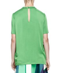Lanvin - Green Satin Short-sleeve Blouse - Lyst