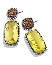 David Yurman - Yellow Chatelaine Drop Earrings with Lemon Citrine Cognac Diamonds - Lyst