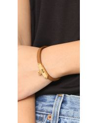 Tory Burch | Multicolor Skinny Lock Leather Bracelet - Tiger's Eye/gold | Lyst