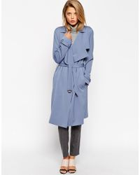 ASOS - Blue Trench With Waterfall Front And D Ring Detail - Lyst