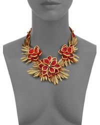 Oscar de la Renta - Red Wildflower Statement Necklace - Lyst
