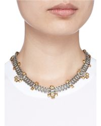 Ela Stone | Metallic 'Blake' Cluster Stud Chain Link Necklace | Lyst
