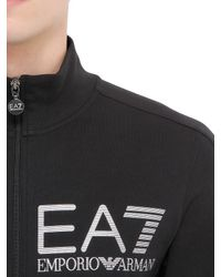 EA7 | Black Train Visibility Zip Cotton Sweatshirt | Lyst