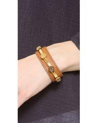Tory Burch - Brown Leather Logo Cuff Bracelet - Lyst