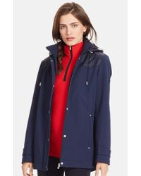 Lauren by Ralph Lauren | Blue Quilt Trim Soft Shell Jacket With Detachable Hood | Lyst