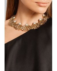 Oscar de la Renta | Metallic Gold-plated, Swarovski Crystal And Faux Pearl Necklace | Lyst