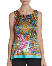 Dolce & Gabbana - Multicolor Baroque Floralprint Silk Top - Lyst