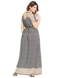Soprano - Black Plus Size Short-Sleeve Printed Maxi Dress - Lyst
