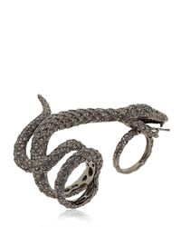 Elise Dray | Gray Diamond Studded Anaconda Ring | Lyst