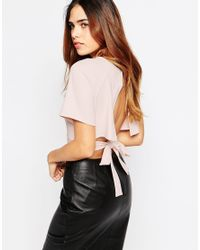 ASOS | Black Kimono Crop Top With Obi Tie And Open Back | Lyst