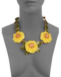 Oscar de la Renta - Yellow Embellished Floral Statement Necklace - Lyst