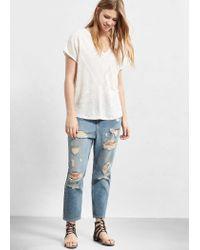 Violeta by Mango - White Trim Linen-blend T-shirt - Lyst