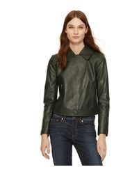 Tory Burch - Green Waxed Leather Asymmetrical Zip Jacket - Lyst
