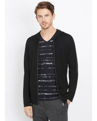 Vince - Black Wool Silk Zip-up Hoodie With Leather Trim for Men - Lyst