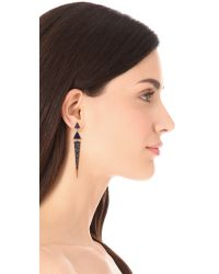 Elizabeth and James - Metallic Chrysler Pave Triangle Earrings - Lapis - Lyst