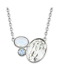 Swarovski - White Rhodiumplated Clear Crystal Cluster Pendant Necklace - Lyst