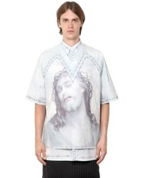 Givenchy | Blue Columbian Printed Cotton Poplin Shirt for Men | Lyst