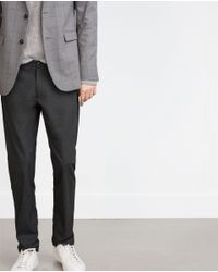Zara | Gray Straight-cut Trousers for Men | Lyst