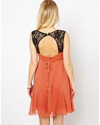 Love   Orange Polka Dot Dress with Lace   Lyst