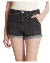 Free People | Blue Hi Rise Slim Cuffed Shorts | Lyst