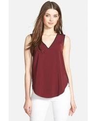 DKNY - Red Contrast Piped Sleeveless Blouse - Lyst
