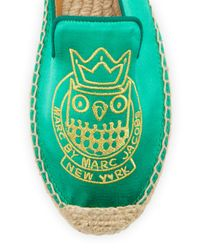 Marc By Marc Jacobs - Green Owl Satin Espadrille Flat - Lyst
