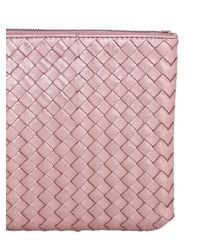 Bottega Veneta | Pink Small Grosgrain Effect Leather Clutch | Lyst