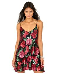 Missguided - Multicolor Gabey Rose Sequin Embellished Swing Dress - Lyst