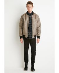 Forever 21 - Natural Chevron-patterned Bomber Jacket for Men - Lyst