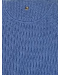 Valentino | Blue Crew-neck Ribbed-knit Sweater | Lyst