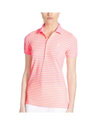 Ralph Lauren Golf   Pink Tailored Golf-fit Striped Polo   Lyst