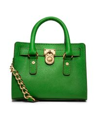 Michael Kors - Green Michael Hamilton Mini Messenger Bag - Lyst
