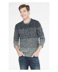 Express | Gray Ombre Marl Cable Knit Crew Neck Sweater for Men | Lyst
