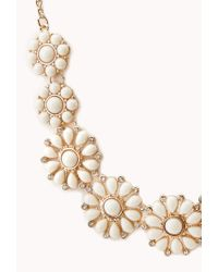 Forever 21 - White Dainty Floral Faux Stone Necklace - Lyst