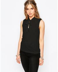 First & I | Black Pussy Bow Top | Lyst